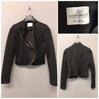Rinascimento Women's Cropped Black Biker Jacket Small Made in Italy