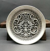Collect noble Decor silver copper carved lucky two dragon statue fengshui plate
