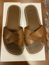 Celine Lerins Vegetal Criss Cross Brown Leather Slides US Size 8M EUR 38