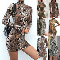 WomenTight Long Sleeve Turtleneck Package Dress Pencil Club Mini Bodycon Dress