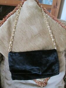 Black Clutch Bag With Gold Chain Evening Occasion Purse