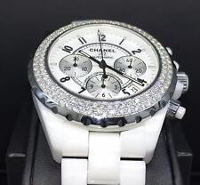 Chanel J12 Chronograph 41mm White Ceramic Factory Diamond Bezel Ref. H1008