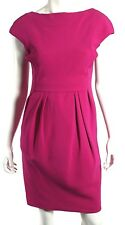 GIAMBATTISTA VALLI Fuchsia Wool Silk Pleated Cap-Sleeve Sheath Dress 42