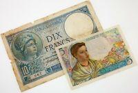 Lot of 2 World War France Notes (1916 10 Francs VG+, 1943 5 Francs VF) Nice Lot!