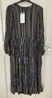 ZARA GREEN SEMI-SHEER SEQUINNED STRIPED LONG DRESS FRONT BUTTONS SIZE S BNWT