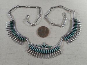 Vintage Zuni sterling silver necklace with natural turquoise needlepoint stones