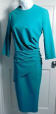 GRETA CONSTANTINE Emerald Green Scoop Neck 3/4 Sleeve Gathered Waist Dress Sz M