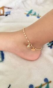"""9ct 9k Yellow """"Gold FILLED"""" Young Girl Twisted ANKLE CHAIN Bell ANKLET. 8.3"""",830"""