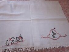 2 PC LOT CAT SCOTTIE DOG EMBROIDERED WHITE HAND FINGERTIP TOWELS 15X23 16X21