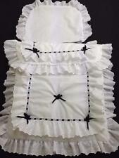 Baby's Pram Quilt set in white with black double lace design