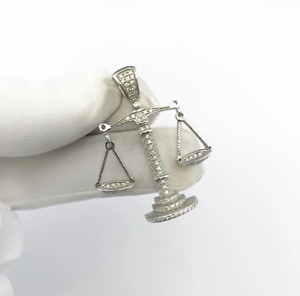 Sterling Silver Scales Pendant set with Cubic Zirconia***