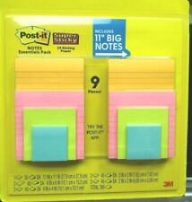 "3M Post-It Notes Essentials Pack 9 pads 5 Different Sizes Includes 11"" Big Notes"