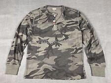 330da38c Denim Supply Ralph Lauren Mens L Military Gray Camo Flag Placket Henley T- Shirt
