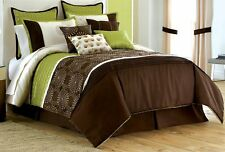 Luxury 10PC Sage/Green/Choco/Cream Pinch Pleat Embroidery Bed-In-A-Bag W/Pillows