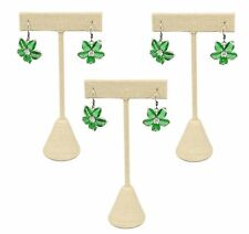 3 Beige Linen Earring T Stand Showcase Displays 475 3 P