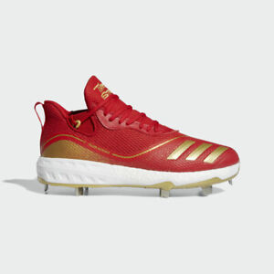 New Men's Adidas Icon V Metal Baseball Cleats Red Gold 10.5 $120