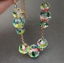 Rainbow Iris Crystal Czech Art Deco Vintage Glass Bead Necklace Original Conditi
