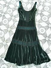 Dark teal green silk velvet black crochet vintage gothic victorian tea dress M
