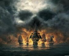 """Skull Clouds Pirate Ship Fleet Sea Landscape Wall Framed Canvas Picture 20x30"""""""