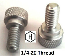 """1/4-20 x 1/2"""" Knurled Thumb Screw (10 Pieces) Aluminum Silver Anodized Finish"""