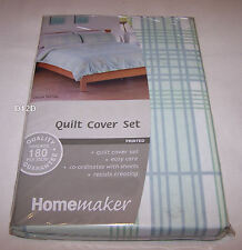 Homemaker Fresh Tartan Double Bed Printed Quilt Cover Set New *Clearance*