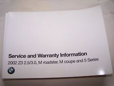 2002  bmw z3 m roadster owners service warranty booklet m coupe maintenance m5