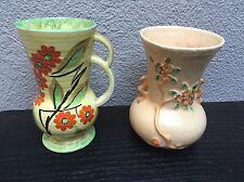 Vintage Collectible  2 Crown Devon Collectible Vases Art Deco