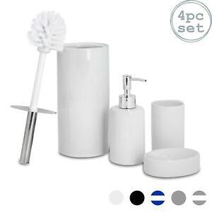 Bathroom Accessories Set 4 pcs - Soap Pump, Dish, Tumbler & Brush - White