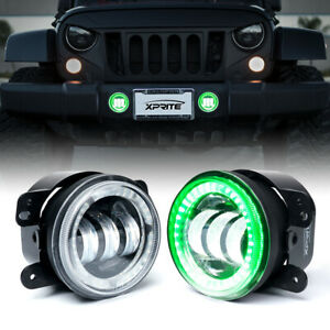 "Xprite 60W 4"" CREE LED Fog Lights Projector Green Halo Ring for Jeep Wrangler JK"