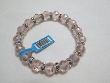 Rose Quartz Glass Bead Stretch Bracelet