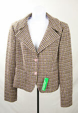 NEW UNITED COLORS OF BENETTON brown WOOL TWEED BLAZER JACKET COAT SIZE 46 us 12