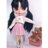 Miniatur Puppenkleidung, Langärmliges Crop Top Und Rosa Falten Minirock Für