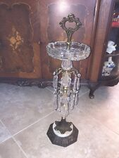 HOLLYWOOD REGENCY Cast Iron Floor Smoking Stand Prisms & Glass Ashtray