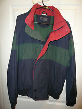 Ambercrombie and Fitch Mens Large Jacket Coat Dark Blue w/ Green Stripe