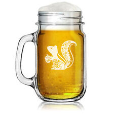 16oz Mason Jar Glass Mug Fancy Squirrel