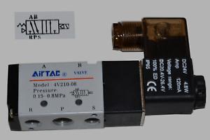"""Pneumatik Ventil 5/2 Wege 12V 1/4"""" 1,5 - 8  bar 5/2 Wegeventil Magnetventil #521"""