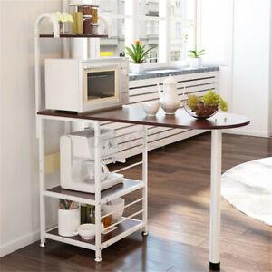 4 Tier Kitchen Wooden Bar Table Microwave Rack Stand Holder Storage Organizer