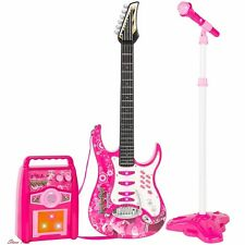 Electric Guitar Kids Learning Toys Hobbies Play Set MP3 Player Pink Educational