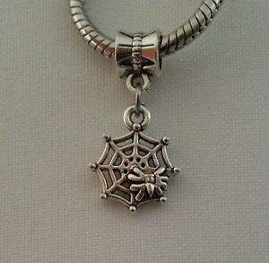 Spider Web Skull Halloween Insect Dangle Bead Fit European Style Charm Bracelet