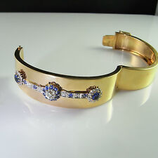 Antique Old Euro Cut 1+ Carat Central Diamond Sapphire Bangle Bracelet 14K Gold