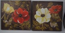 """S/2 Red White Poppy Flowers Butterfly Canvas Wall Picture Sign Plaque  9x9"""" #8"""