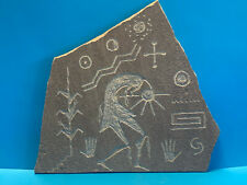 Vtg Collectible Carved Kokopelli Tribal Man Etched On Slate Signed Jay Towne '79