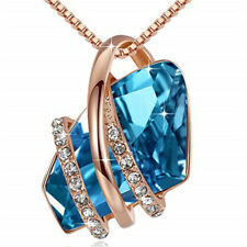 Ladies Fashion 18k Rose Gold Plated Blue Crystal White Zircon Necklace Jewelry
