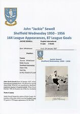 JACKIE SEWELL SHEFFIELD WEDNESDAY 1950-1956 ORIGINAL HAND SIGNED ANNUAL CUTTING