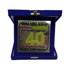 40 ANNI targa degli auguri compleanno personalizzabile blu glitter 14x14 cm