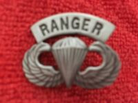 US ARMY AIRBORNE WINGS WITH RANGER TAB ABOVE IT MEASURES 1 1/4 INCHES WIDE