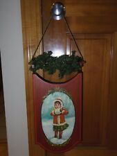 Vintage Handmade Hanging Wooden Sled Christmas Decoration Garland - Girl in Snow