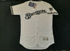 Authentic Milwaukee Brewers Flex Base Home White Jersey 44