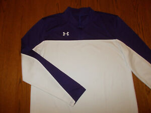 UNDER ARMOUR 1/4 ZIP LONG SLEEVE PURPLE & WHITE ATHLETIC SHIRT MENS XL GOOD COND