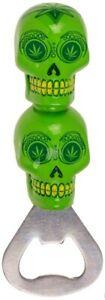 Flaschenöffner Kapselheber Bottle Opener Flaschen-Öffner Cannabis Totenkopf grün